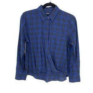 Madewell Blue Black Wrap-Front Shirt Arion Plaid